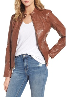 Guess Collarless Leather Moto Jacket