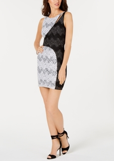 Guess Colorblocked Floral Lace Dress