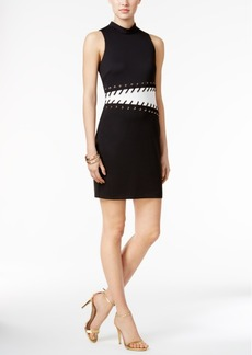 Guess Colorblocked Lace-Up Sheath Dress