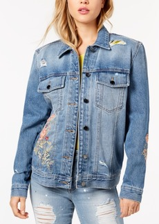 Guess Cotton Floral-Embroidered Denim Jacket