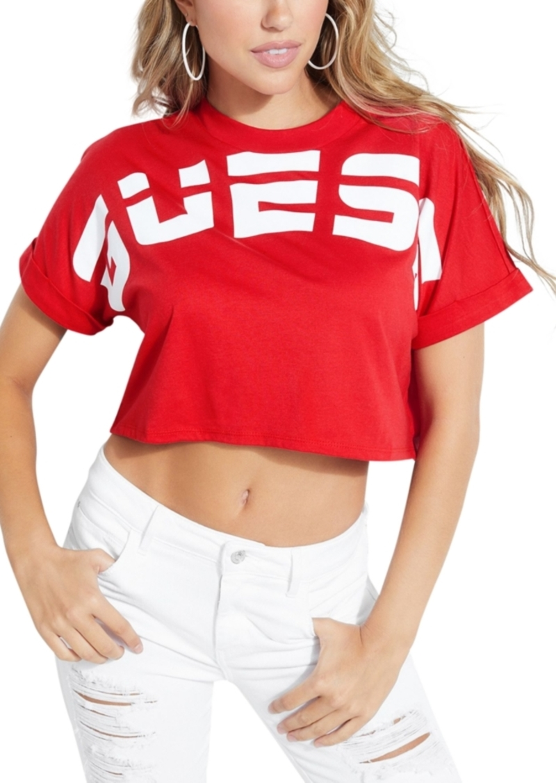 Guess Cotton Logo Cropped T-Shirt