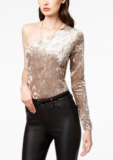 Guess Crushed Velvet One-Shoulder Bodysuit