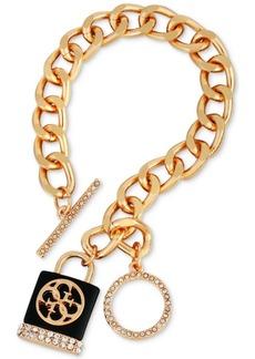 Guess Crystal & Logo Padlock Charm Bracelet