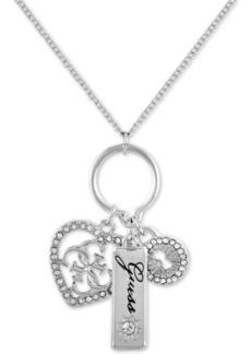 "Guess Crystal Heart, Padlock & Logo Charm Pendant Necklace Gift Set, 18"" + 2"" extender"