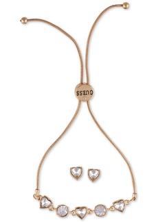 Guess Crystal Heart Slider Bracelet & Stud Earring Gift Set