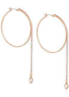 Guess Crystal Linear Drop Hoop Earrings