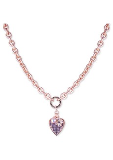 """Guess Crystal Logo & Heart Pendant Necklace, 17"""" + 2"""" extender"""