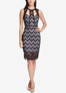 Guess Cutout Geo-Floral Lace Dress, Created for Macy's
