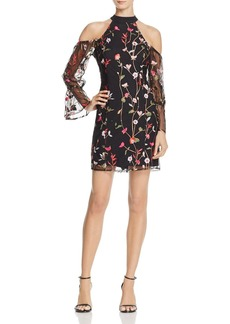 GUESS Cyndi Embroidered Cold-Shoulder Dress
