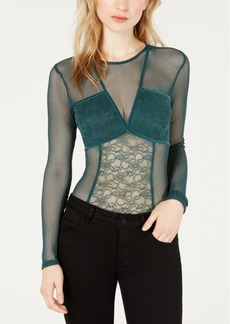 Guess Cyon Illusion Lace-Contrast Bodysuit