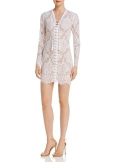 GUESS Dakota Lace-Up Lace Dress