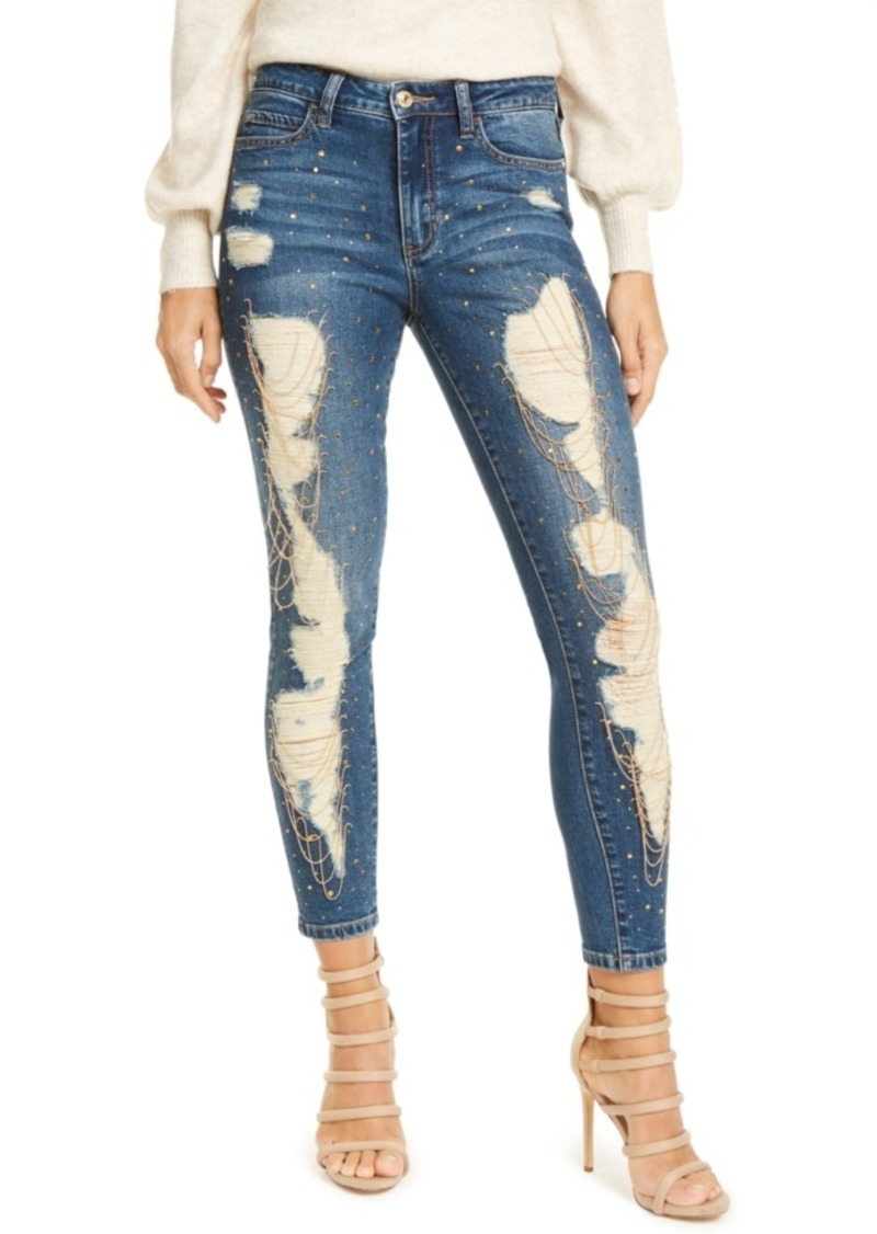 Guess Destroyed 1981 Chain-Trim Skinny Jeans