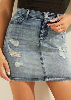 Guess Destroyed Denim Mini Skirt