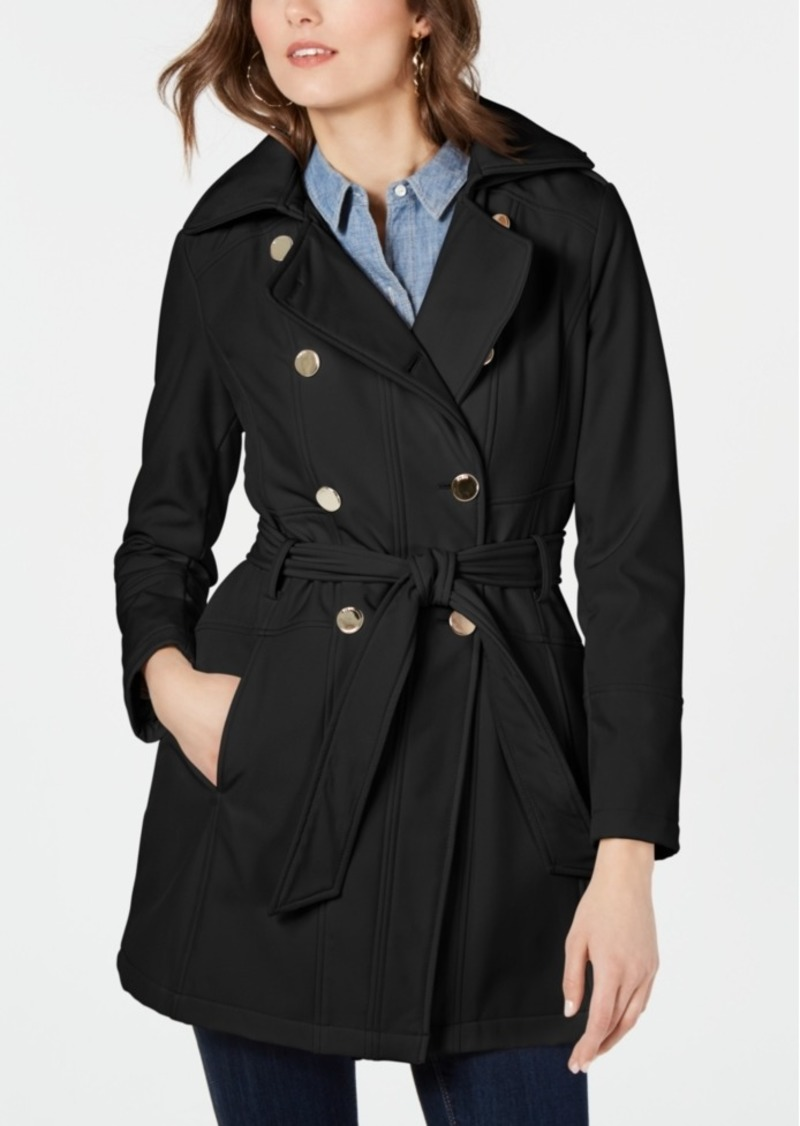 Guess Double-Breasted Hooded Trench Coat