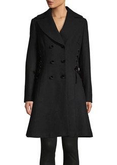 Guess Double Breasted Lace-Up Coat