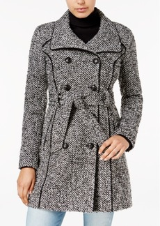 Guess Double-Breasted Tweed Walker Coat