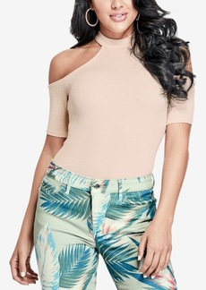 Guess Ebony Mock-Neck Cold-Shoulder Top