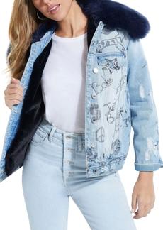 Guess Ellie Faux Fur Embellished Denim Jacket