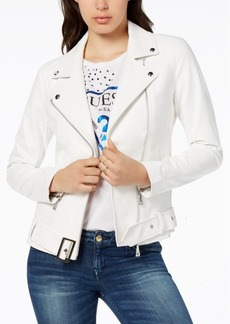 Guess Embellished Faux-Leather Biker Jacket
