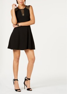Guess Embellished-Mesh Scuba Crepe Dress
