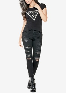Guess Embellished Triangle Logo T-Shirt