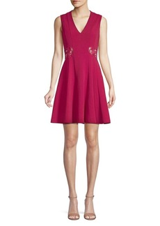 Guess Embroidered Cutout A-Line Dress