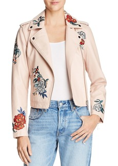 GUESS Embroidered Faux Leather Moto Jacket