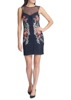 Guess Embroidered Floral Chiffon Mini Sheath Dress