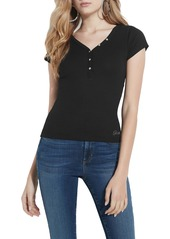 GUESS Essential V-Neck Logo Henley Top