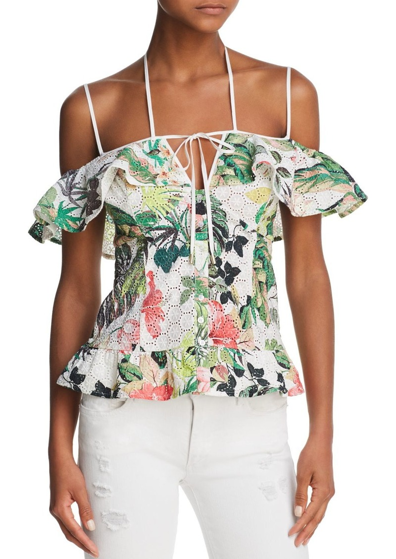 77fb2a3fbacdc GUESS GUESS Eyla Botanical Cold-Shoulder Eyelet Top Now  23.29
