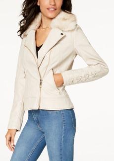 Guess Faux-Fur-Collar Faux-Leather Moto Jacket