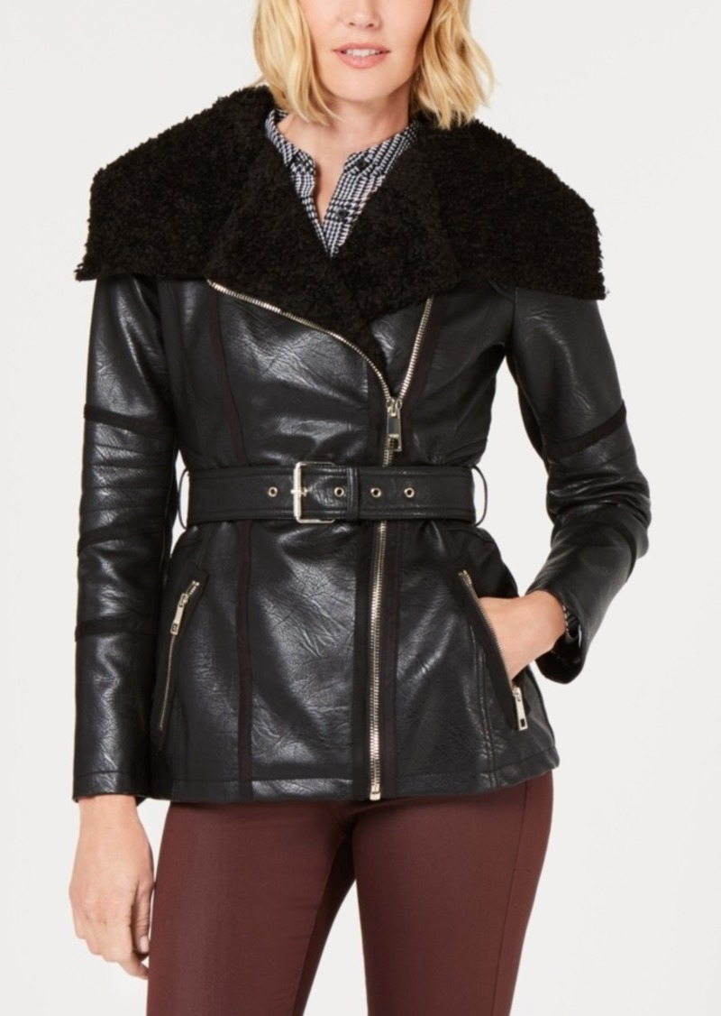 Guess Faux-Fur-Collar Faux-Leather Moto Jacket