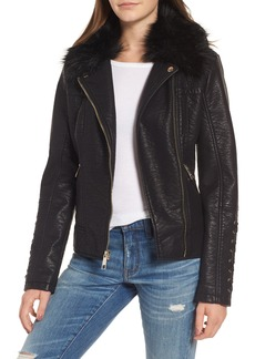 GUESS Faux Fur Collar Jacket