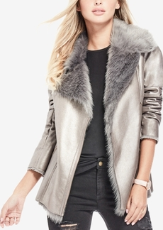 Guess Faux-Fur-Collar Metallic Jacket