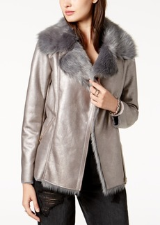 Guess Faux-Fur-Collar Metallic Jacket