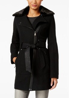Guess Faux-Fur-Collar Mixed-Media Asymmetrical Coat