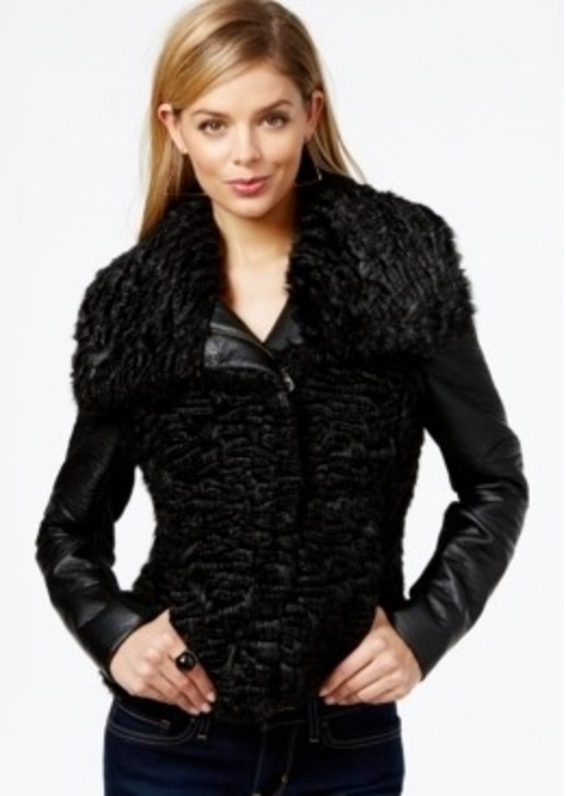 Sale Guess Guess Faux Fur Contrast Jacket