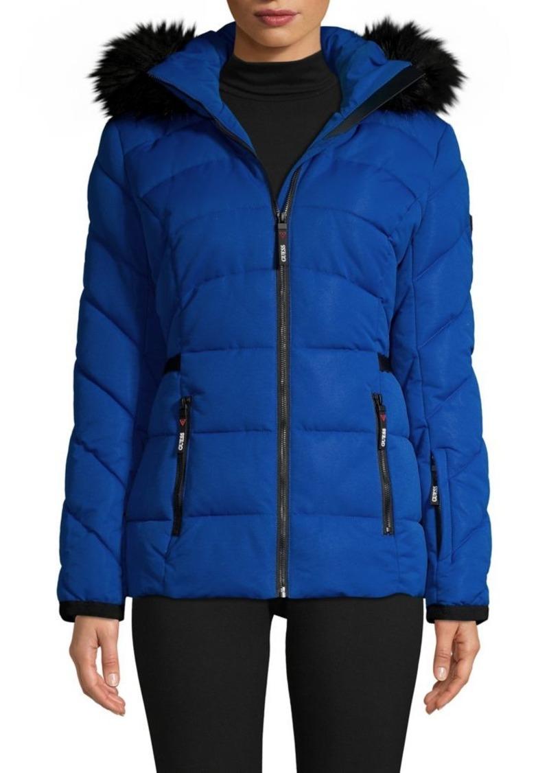 GUESS Womens Jolene Faux Fur Bomber Jacket