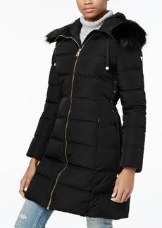 Guess Faux-Fur-Trim Corset Puffer Coat