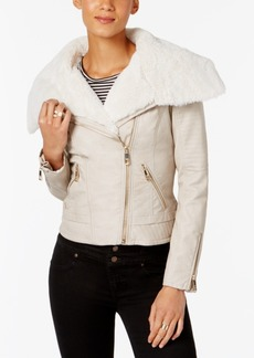 Guess Faux-Fur-Trim Faux-Leather Moto Jacket
