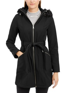Guess Faux-Fur-Trim Hooded Coat