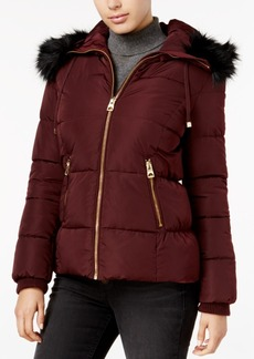 Guess Faux-Fur-Trim Hooded Down Puffer Coat