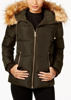 Guess Faux-Fur-Trim Hooded Down Puffer Coat