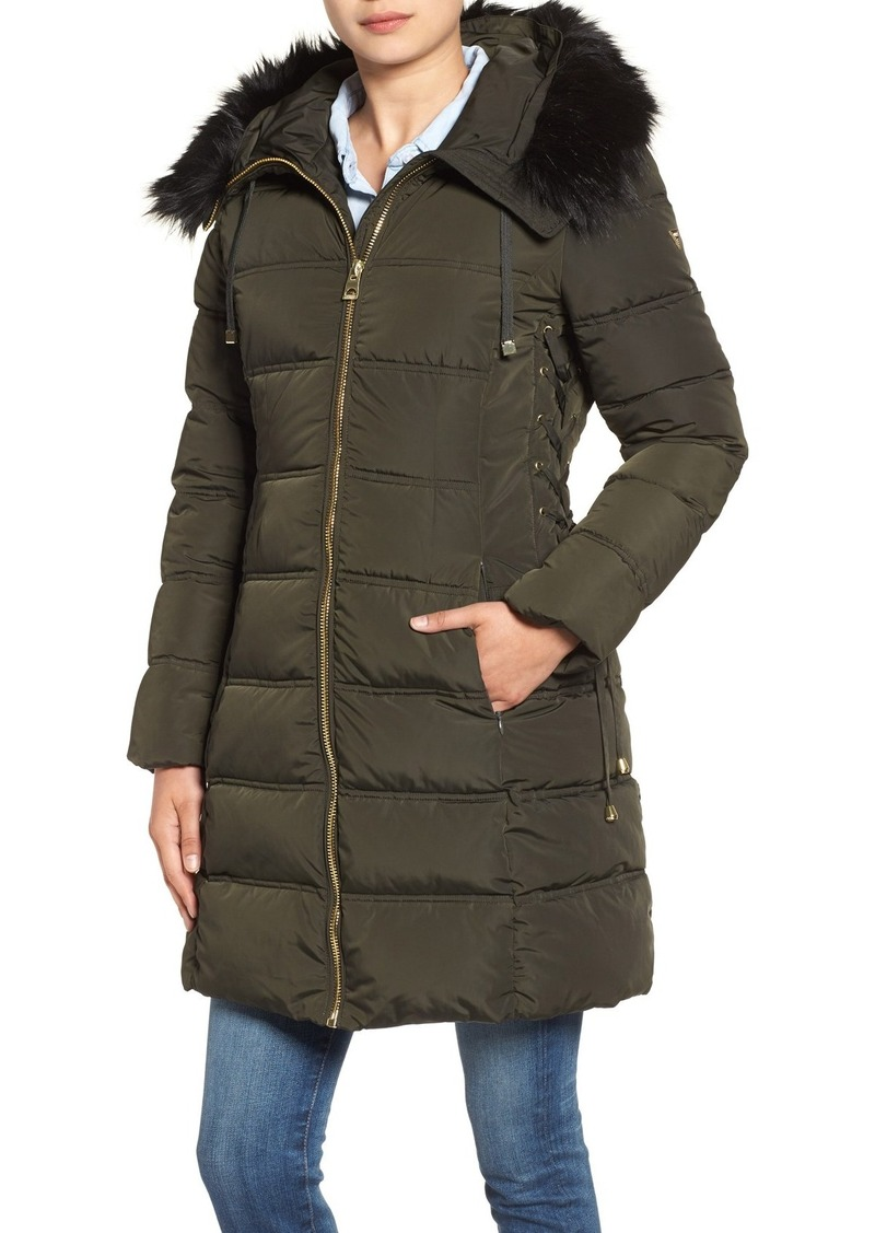 GUESS Faux Fur Trim Hooded Lace-Up Detail Quilted Coat