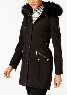 Guess Faux-Fur-Trim Lace-Up Coat