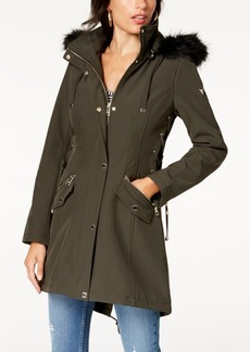 Guess Faux-Fur-Trim Lace-Up Raincoat