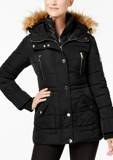 Guess Faux-Fur-Trim Layered Puffer Coat