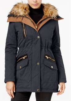 Guess Faux-Fur-Trim Mixed-Media Parka