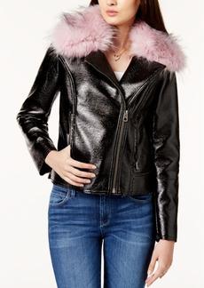 Guess Faux-Fur-Trim Moto Jacket