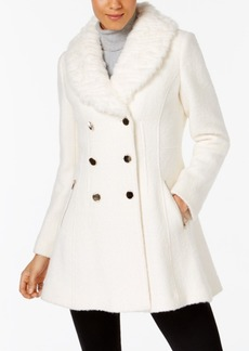 Guess Faux-Fur-Trim Skirted Peacoat
